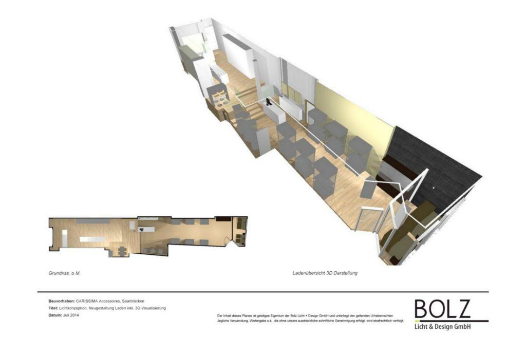 Grundriss und 3D Übersicht - Lichtplanung und Konzeption Redesign der Ausstellungsfläche (Planung und 3D Visualisierung), in Bearbeitung 2015