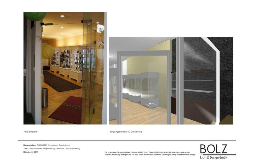 Eingangsbereich Bestand (links) Neuplanung (rechts) - Lichtplanung und Konzeption Redesign der Ausstellungsfläche (Planung und 3D Visualisierung), in Bearbeitung 2015