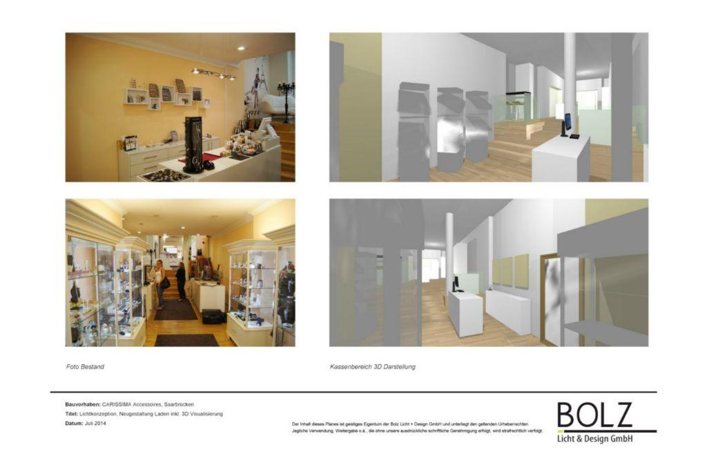 Ladenfläche - Lichtplanung und Konzeption Redesign der Ausstellungsfläche (Planung und 3D Visualisierung), in Bearbeitung 2015