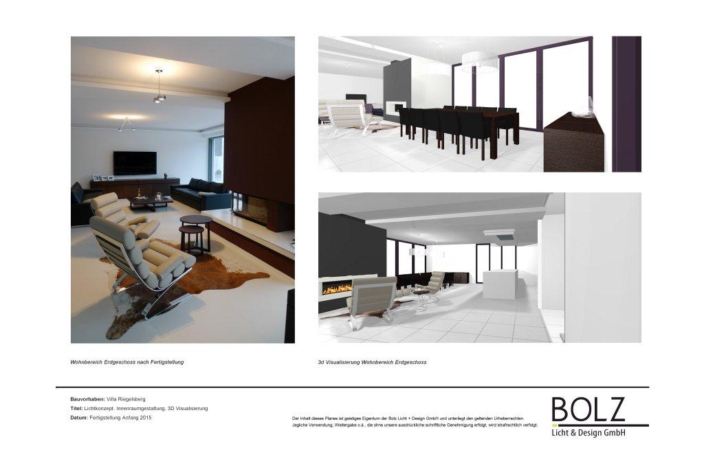 Lichtkonzept, Innenraumgestaltung einer Villa in Riegelsberg. Darstellung 3D Visualisierung und nach Fertigstellung.