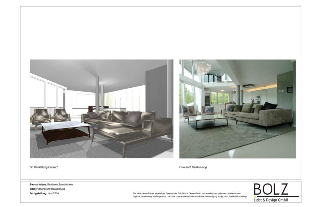 Lichtkonzeption und Innenraumgestaltung eines Penthauses in Saarbrücken. Wohnbereich als 3D Visualisierung links und nach der Fertigstellung.