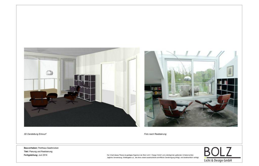 Lichtkonzeption und Innenraumgestaltung eines Penthauses in Saarbrücken. Zweite Ebene als 3D Visualisierung links und nach der Fertigstellung.