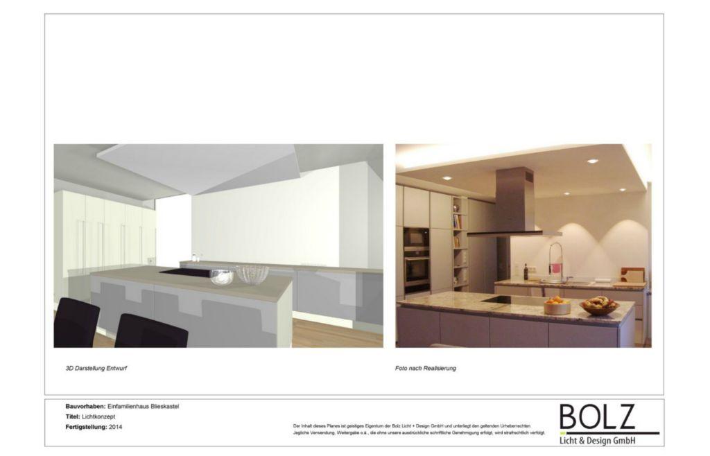 Lichtkonzept und Planung in einem Einfamilienhaus. Darstellung 3D Visualisierung sowie das Endbild im Küchen- und Essbereich.